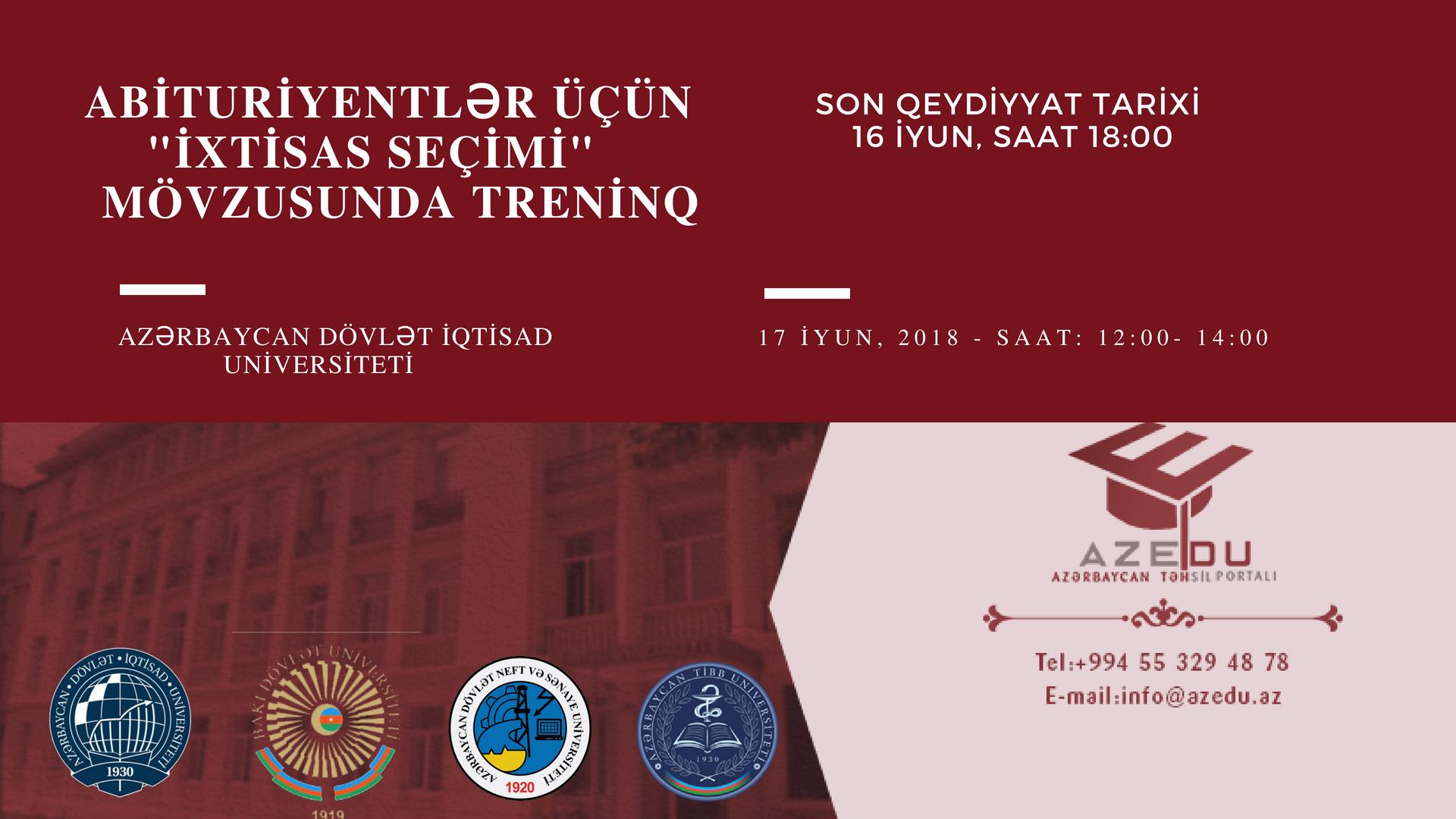 AzEdu.az-ın xüsusi treninqinə qeydiyyat davam edir