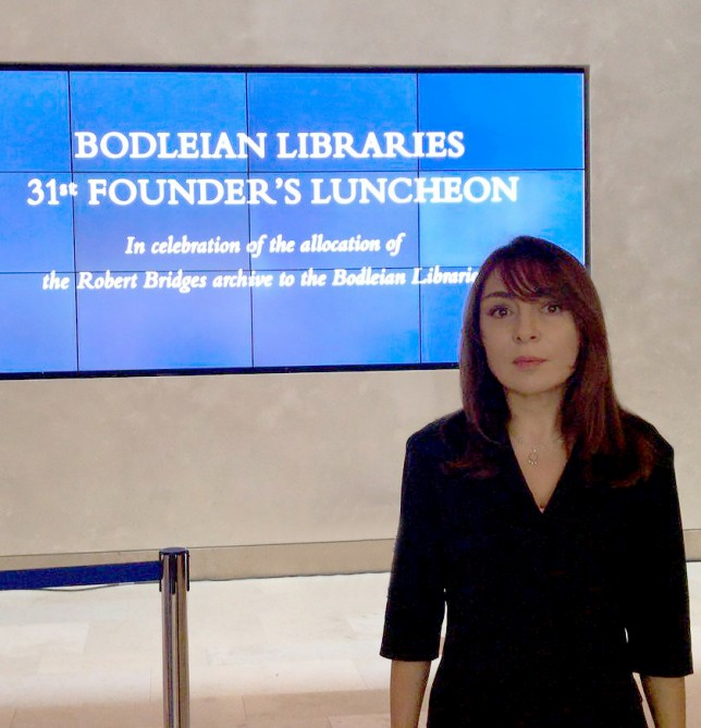 Akademik Nərgiz Paşayeva Oksfordun Bodli Kitabxanasının yaradıcısının şərəfinə təşkil edilən təntənəli qəbulda iştirak etdi