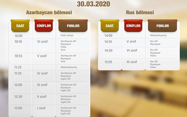 """""""Dərs vaxtı""""nın 30 mart cədvəli"""