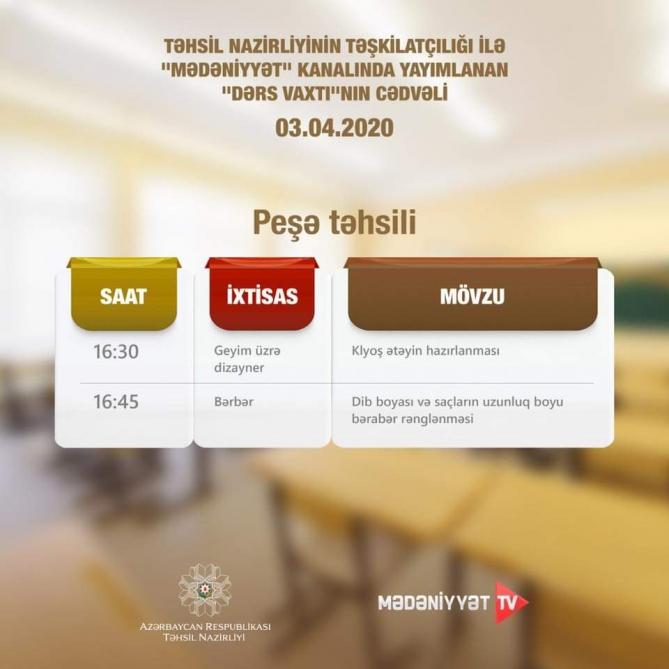 Peşə təhsili üzrə teledərslərin aprelin 3-ü üçün cədvəli müəyyənləşdirilib