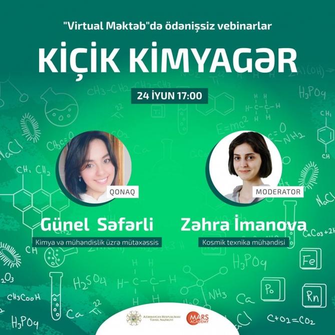 """""""Virtual məktəb""""də STEAM təhsili üzrə vebinar: Kiçik kimyagər"""
