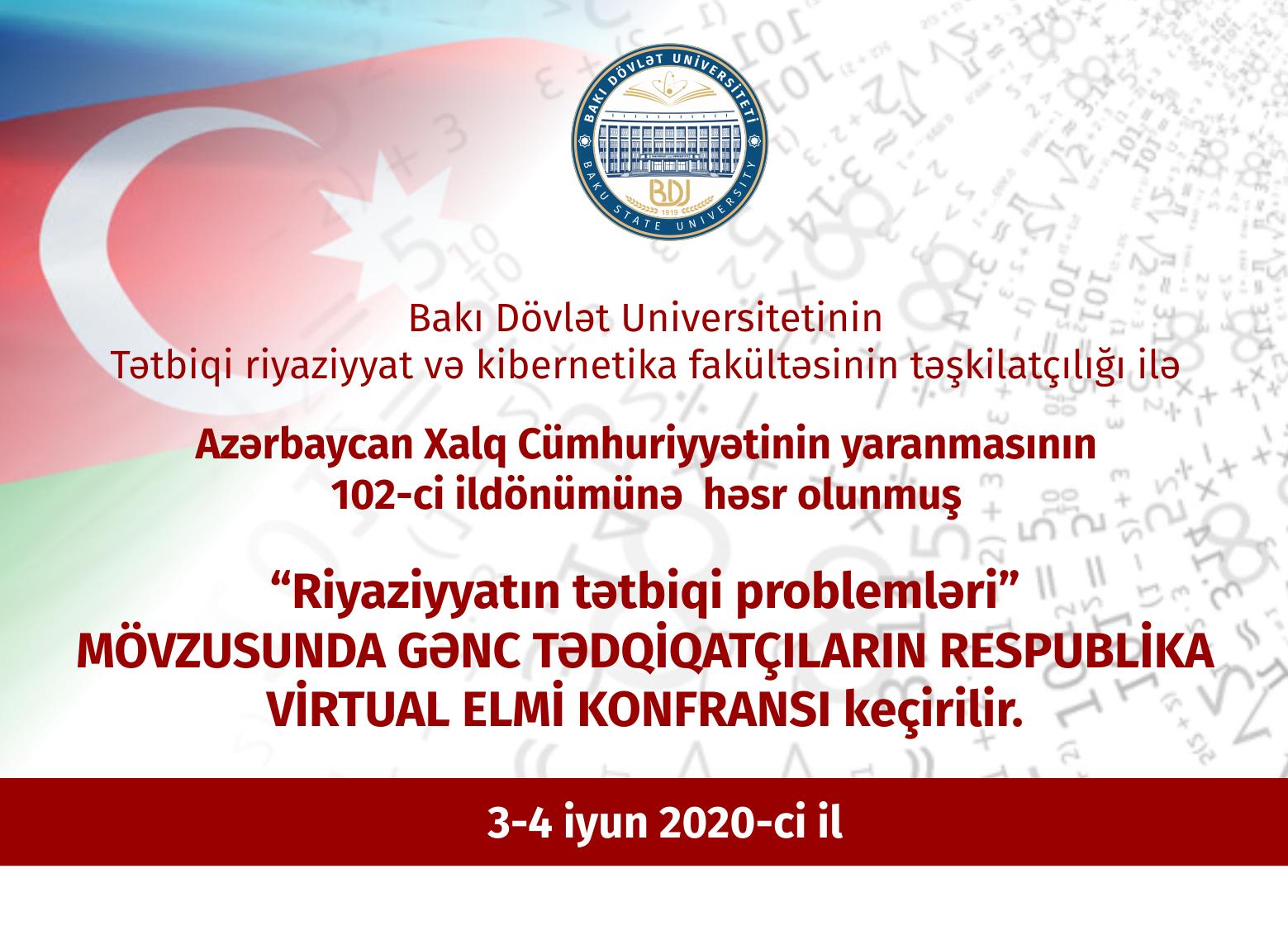"""BDU-da """"Riyaziyyatın tətbiqi problemləri"""" mövzusunda Respublika virtual elmi konfransı keçirilir"""