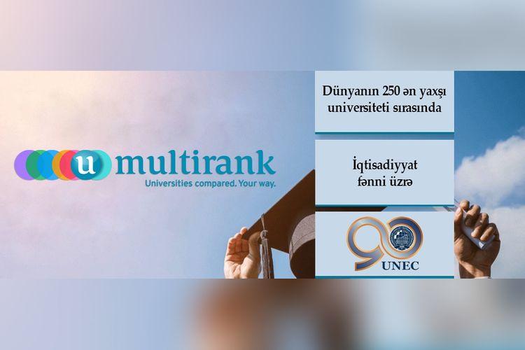 UNEC iqtisadiyyat fənni üzrə dünyanın 250 ən yaxşı universiteti sırasındadır