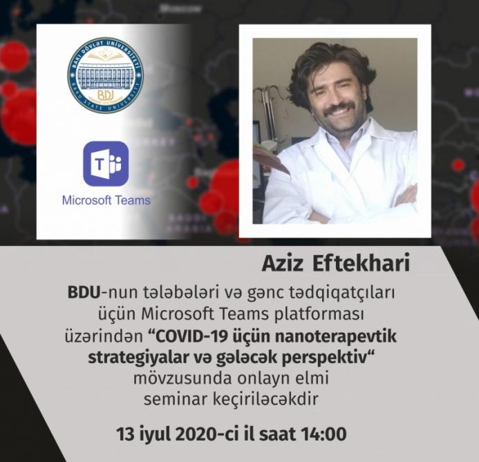 BDU-da onlayn elmi seminar: COVID-19 üçün nanoterapevtik strategiyalar və perspektivlər