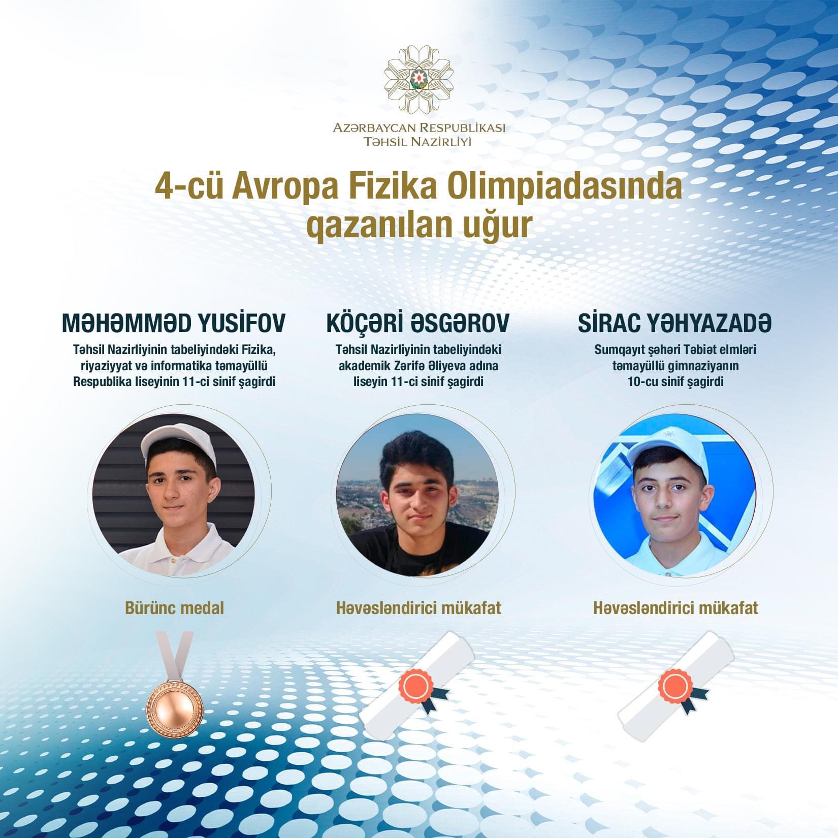Məktəblilərimiz beynəlxalq olimpiadada tarixi uğura imza atdılar