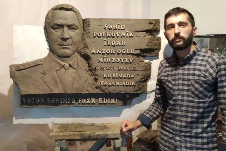 Tələbə şəhid polkovnik İlqar Mirzəyevin büstünü hazırladı